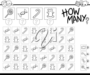 Black and White Cartoon Illustration of Educational How Many Counting Game for Children with Candy Sweets Coloring Book