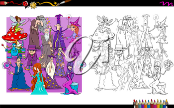 Cartoon Illustration of Wizards and Witches Fantasy Characters Group Coloring Book Activity