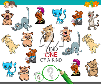 Cartoon Illustration of Find One of a Kind Educational Activity Game for Children with Comic Characters
