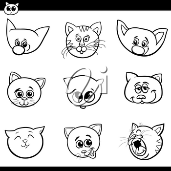 Black and White Cartoon Illustration of Funny Cats and Kittens Heads Set