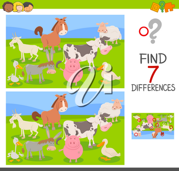 Cartoon Illustration of Finding Seven Differences Between Pictures Educational Activity Game for Children with Farm Animals Group