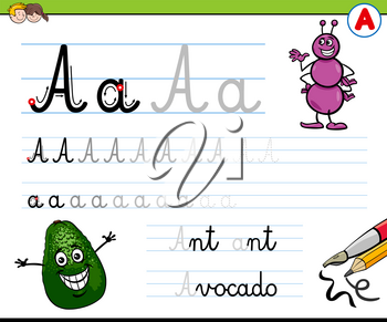 Cartoon Illustration of Writing Skills Practice with Letter A for Preschool and Elementary Age Children