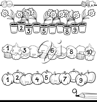Black and White Cartoon Illustration of Educational Mathematical Activity for Children with Count to Ten Workbook