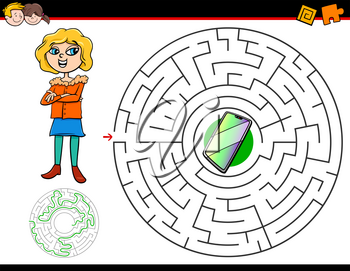 Cartoon Illustration of Education Maze or Labyrinth Activity Game for Children with Girl and Smart Phone