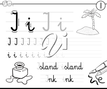 Black and White Cartoon Illustration of Writing Skills Practice with Letter I for Preschool and Elementary Age Children Color Book