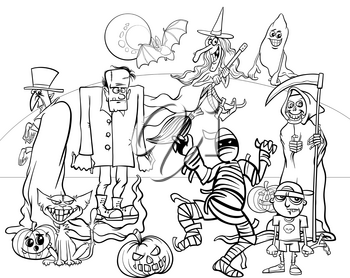 Black and White Cartoon Illustration of Halloween Holiday Monsters and Creatures Group Coloring Book