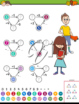 Cartoon Illustration of Educational Mathematical Calculation Puzzle Game for Kids