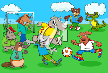 Cartoon Illustrations of Animal Football or Soccer Player Characters Playing Match