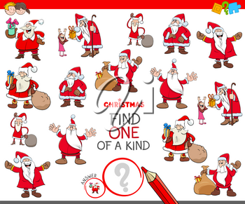 Cartoon Illustration of Find One of a Kind Picture Educational Game for Kids with Santa Claus Characters