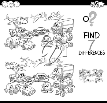 Black and White Cartoon Illustration of Finding Seven Differences Between Pictures Educational Game for Children with Transportation Vehicles Characters Coloring Book