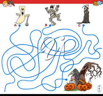 Cartoon Illustration of Lines Maze Puzzle Game with Halloween Spooky Characters