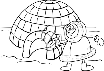 Black and White Cartoon Illustration of Funny Eskimo or Lapp Man with his Igloo House Coloring Book Page