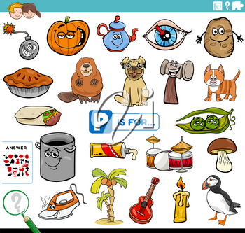 Cartoon Illustration of Finding Picture Starting with Letter P Educational Task Worksheet for Children with Objects and Comic Characters