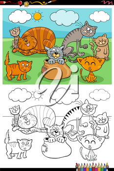 Cartoon Illustration of Funny Cats Pets Animal Characters Group Coloring Book Page