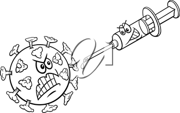 Black and white cartoon illustration of coronavirus and vaccine in a syringe coloring book page