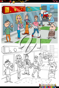 Cartoon Illustration of People Characters in the City Coloring Book Page