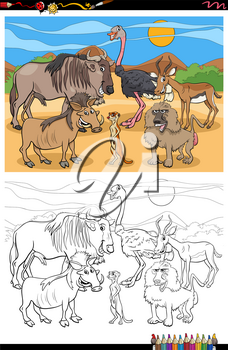 Cartoon Illustration of Animal Characters Group Coloring Book Page