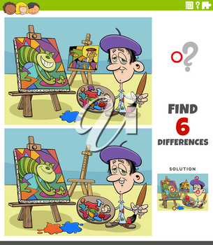 Cartoon illustration of finding the differences between pictures educational game for children with painter artist