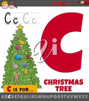 Educational cartoon illustration of letter C from alphabet with Christmas tree for children