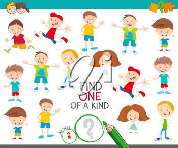 Cartoon Illustration of Find One of a Kind Picture Educational Activity Game with Funny Children Characters