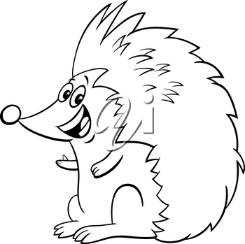 Black and white cartoon illustration of funny hedgehog wild animal character coloring book page