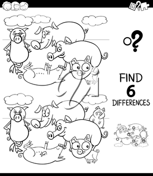Black and White Cartoon Illustration of Finding Six Differences Between Pictures Educational Game for Children with Pigs Animal Characters Coloring Book