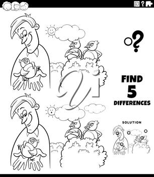 Black and white cartoon illustration of finding the differences between pictures educational game for children with a bird in the hand is worth two in the bush saying coloring book page
