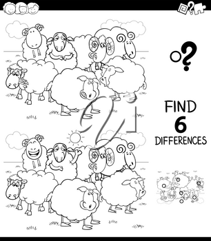 Black and White Cartoon Illustration of Finding Six Differences Between Pictures Educational Game for Children with Sheep Farm Animal Characters Coloring Book