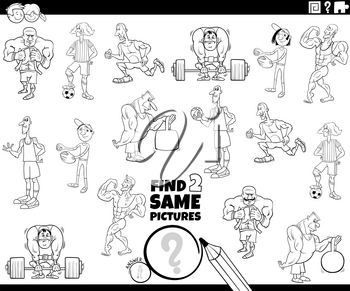 Black and White Cartoon Illustration of Finding Two Same Pictures Educational Game for Children with Athlete Characters Coloring Book Page