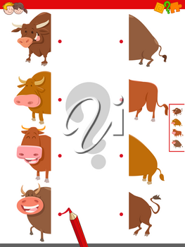 Cartoon Illustration of Educational Game of Matching Halves of Bulls Farm Animal Characters