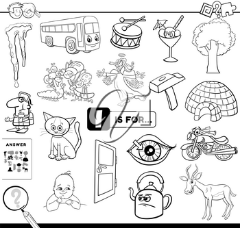 Black and White Cartoon Illustration of Finding Picture Starting with Letter I Educational Task Worksheet for Children with Objects and Characters Coloring Book Page