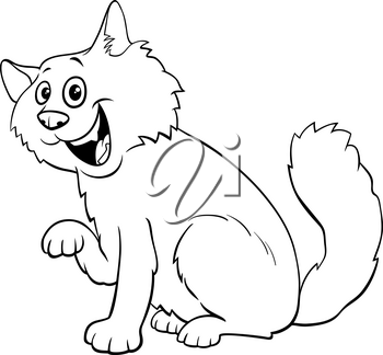 Black and WhiteCartoon Illustration of Funny Fluffy Cat or Kitten Animal Character Coloring Book Page