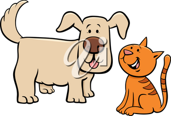 Cartoon Illustration of Cute Puppy and Happy Little Kitten Pet Animal Characters