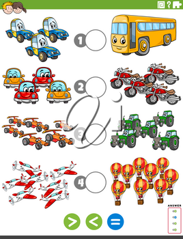Cartoon Illustration of Educational Mathematical Puzzle Task of Greater Than, Less Than or Equal to for Children with Cars and Vehicles Worksheet Page