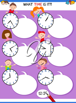 Cartoon Illustrations of Telling Time Educational Activity with Clock Face and Happy Kids