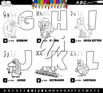 Black and white cartoon illustration of capital letters from alphabet educational set for reading and writing practise for kids from G to L coloring book page