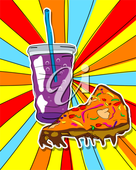 Royalty Free Photo of a Pop-art Graphic of Pizza and Pop