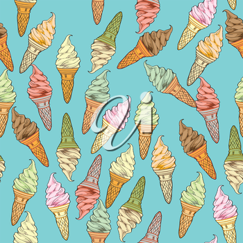 Ice cream seamless pattern, hand drawn doodles over a blue background