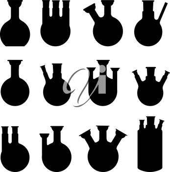 Royalty Free Clipart Image of a Set of Silhouetted Chemistry Glasses