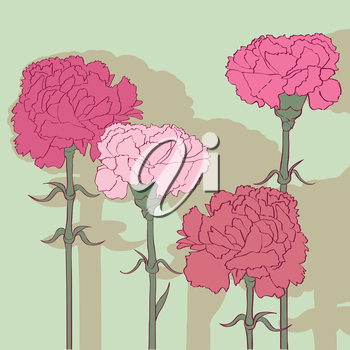 Carnations card, hand drawn illustration of four cartoon flowers with shadow over a fresh mint green background
