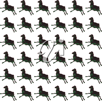 Black sheep jumping seamless pattern, one hand drawn object multiplied over a white background, fake houndstooth design