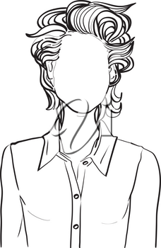 Hand drawn artistic illustration of an anonymous avatar of a young woman with fancy short wavy hairstyle in a casual shirt, web profile doodle isolated on white