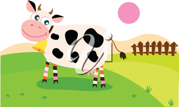 Royalty Free Clipart Image of a Cow in a Pasture