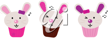 Royalty Free Clipart Image of  Rabbit Cupcakes