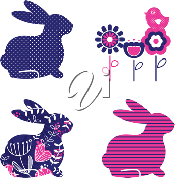 Royalty Free Clipart Image of Abstract Rabbits