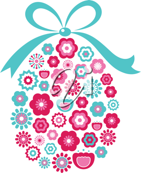 Royalty Free Clipart Image of a Flowery Easter Egg