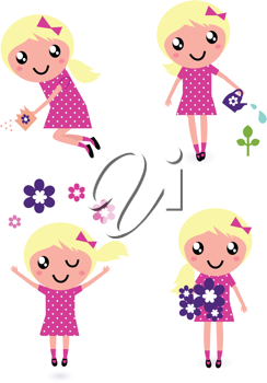 Royalty Free Clipart Image of Gardening Girls