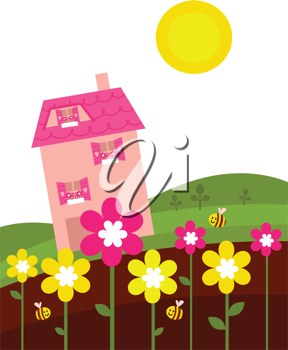 Royalty Free Clipart Image of a House in a Garden
