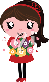 Mom in red dress with flowers in vintage style. Vector Illustration