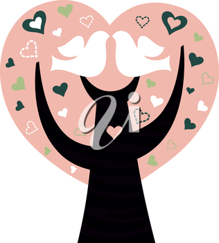 Royalty Free Clipart Image of a Heart Tree With Two Birds